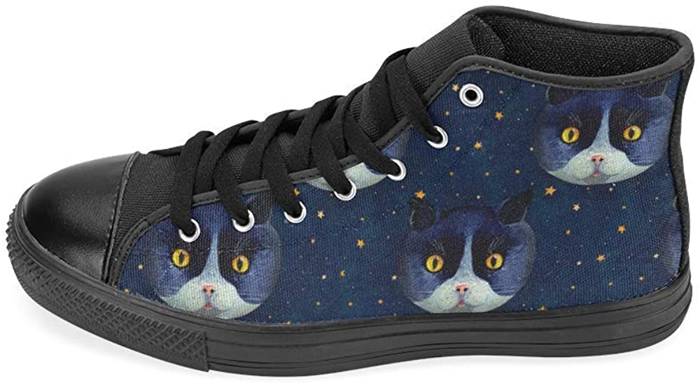 Unisex Star Cats Dark Blue High Top Canvas Kid's Shoes (Big Kid)