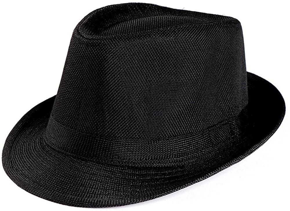 Tomppy Fedora Hats for Men Women Vintage Short Brim Havana Jazz UV Protection Floppy Straw Sun Hat Trilby Gangster Cap