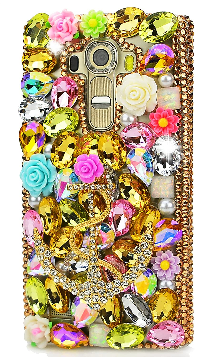 STENES LG K8 (2017) Case - 3D Handmade Luxurious Crystal Sparkle Diamond Rhinestone Clear Cover With Retro Bowknot Anti Dust Plug - Rose Flowers Big Anchors/Gold