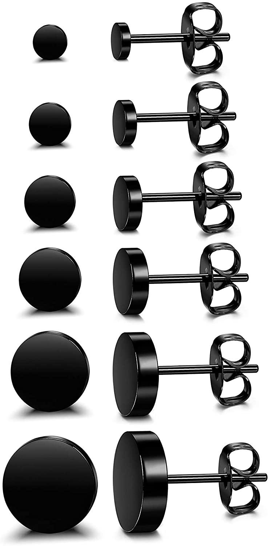 Sllaiss 6 Pairs 925 Sterling Silver Black Dot Stud Earrings for Women Men Minimalist Tiny Disc Round Stud Earrings Set Hypoallergenic