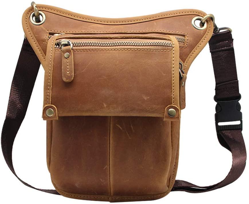 Boshiho Mens Genuine Leather Bumbag Waist Belt Drop Leg Cross Over Bag (Light Brown)