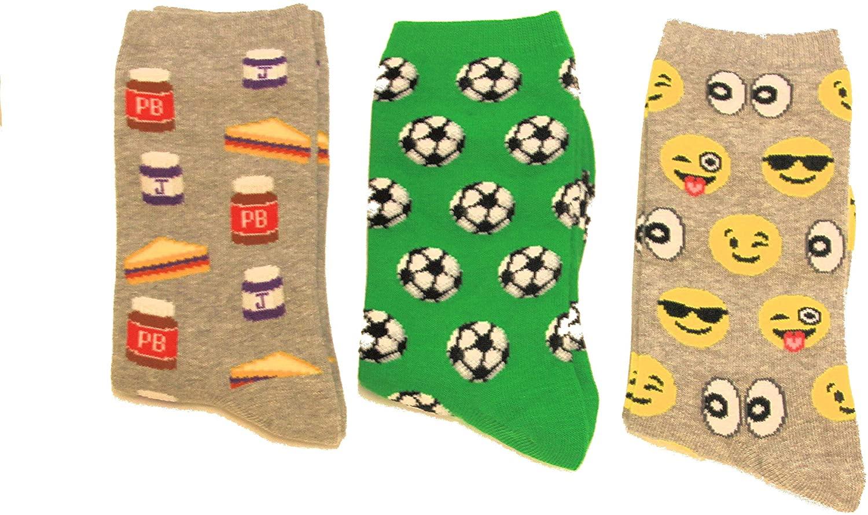 HOTSOX Kid's socks 3 pair Combo Gift Box. Soccer/PBJ/Smiley Face, Kid's Shoe Size 13-3