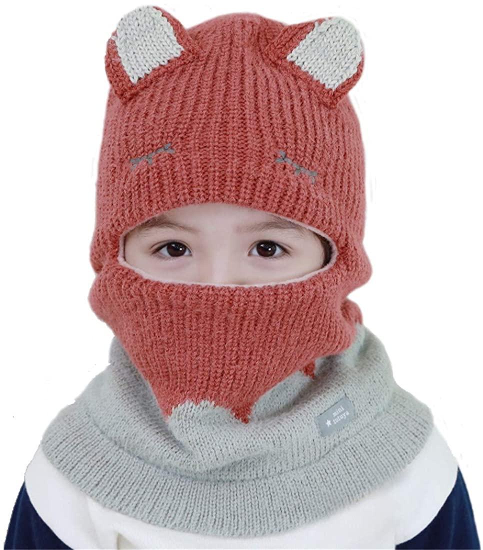Wxllzlife Kids Winter Hat Baby Winter Hat Scarf Mitten Set, Unisex Infant Toddler Kids Hat Scarf 1-3 Years/3-8 Years