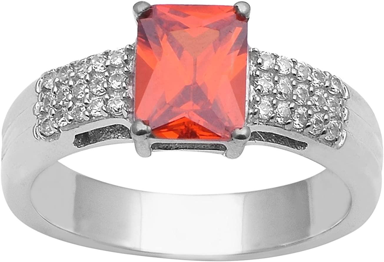 Orange Cubic Zircon Gemstone & White Topaz 925 Sterling Silver Ring Octagon Solitaire Style (10)