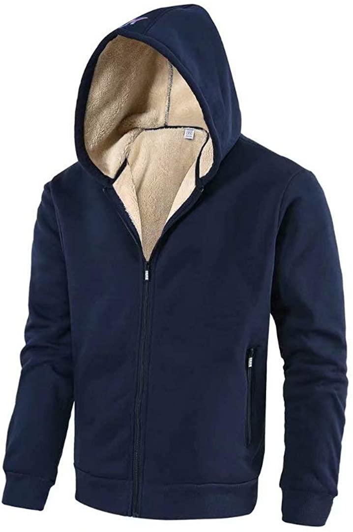 Pdbokew Mens Lined Fleece Hoodie Full Zip Sweatshirt with Sherpa Lined Sleeves