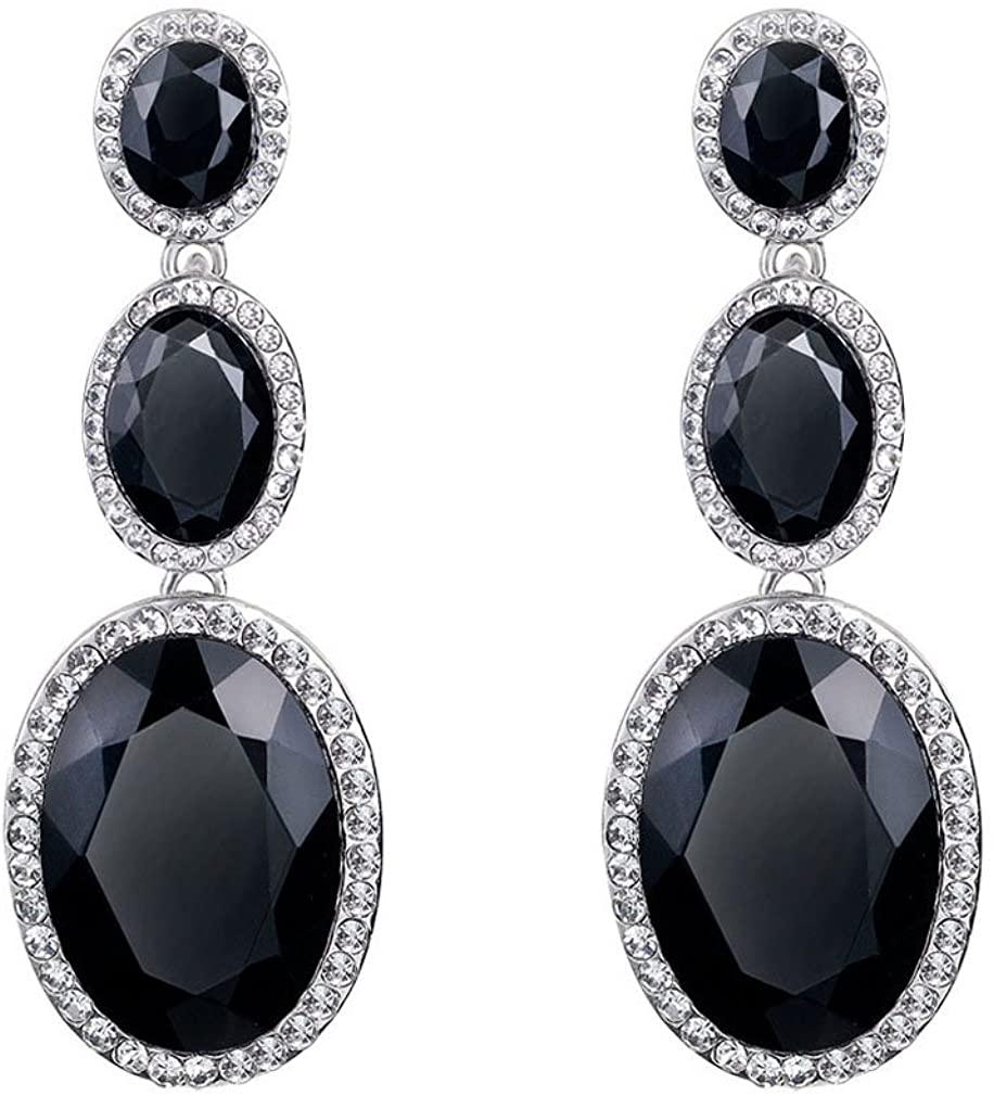 YAZILIND oval cubic zirconia drop dangle earrings rhinestone elegant platinum plated party jewelry