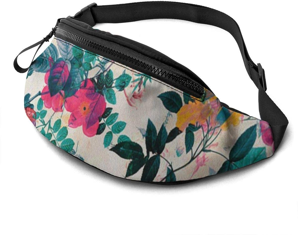 Tropical Pattern3 Fanny Pack for Men Women Waist Pack Bag with Headphone Jack and Zipper Pockets Adjustable Straps