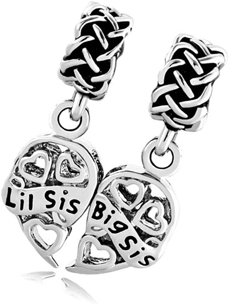 SBI Jewelry Love Heart Sister Charm for Bracelets Family Dangle Little Sister and Big Sister Charm for Women Girls Birthday