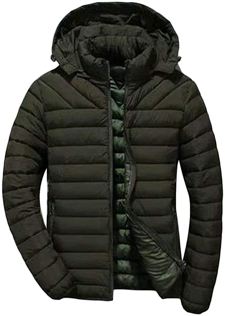 Qhghdgysd Mens Quilted Pocket Winter Thicken Zip Up Hoodie Jacket Parka Coat