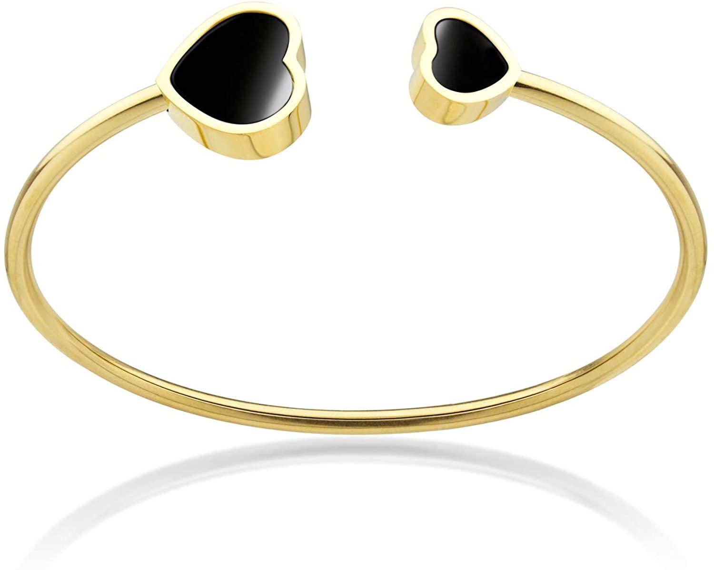 555Jewelry Stainless Steel & Shell Open Cuff Bangle Heart Bracelet for Women & Girls