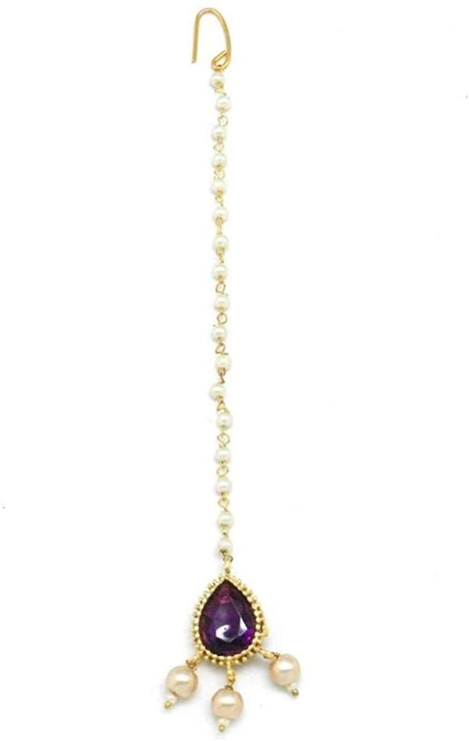 Buti Shaped Maang Tikka for Women and Girl Decorated with Crystal and Pearl Drop/Head Bands/Head Chain/Mathapatti