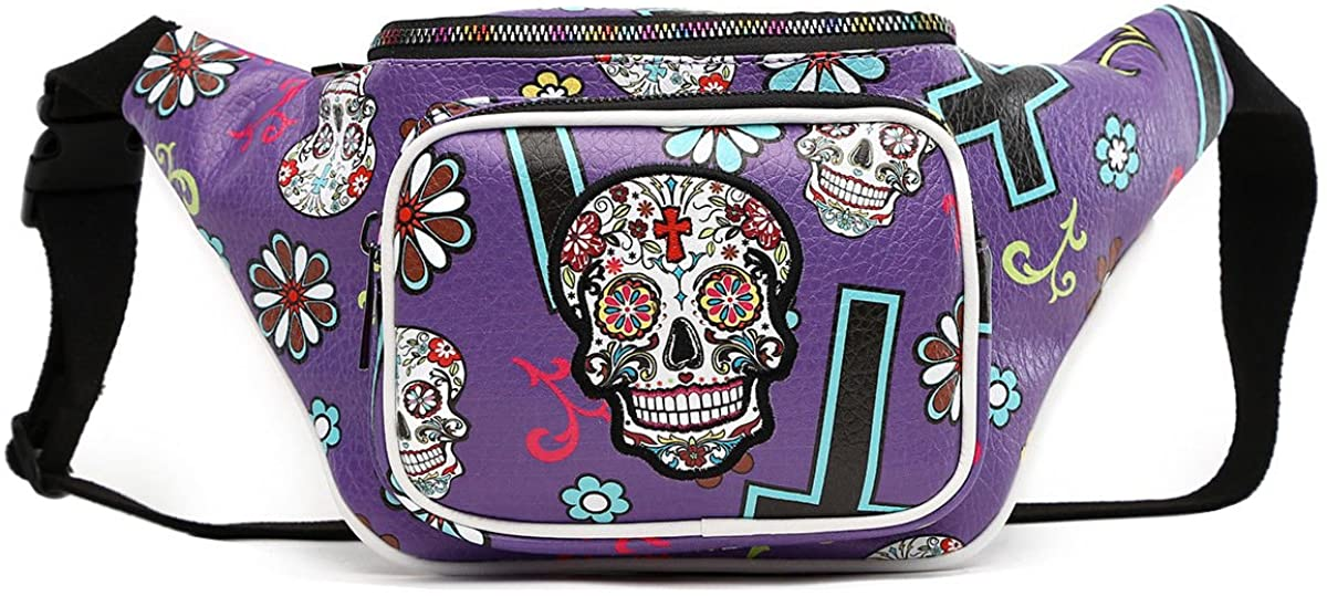 Sugar Skull Pack Fashion hip pack Purse shoulder Package Waist Bag Bike bag