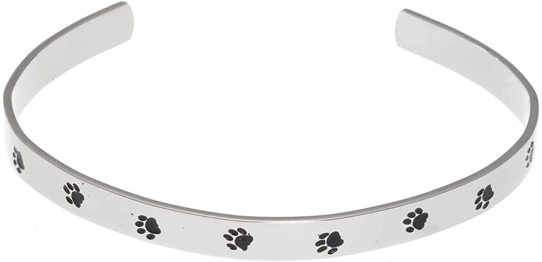 Joyful Sentiments Pet Jewelry Stainless Steel Unconditional Love Paw Print Cuff Bracelet