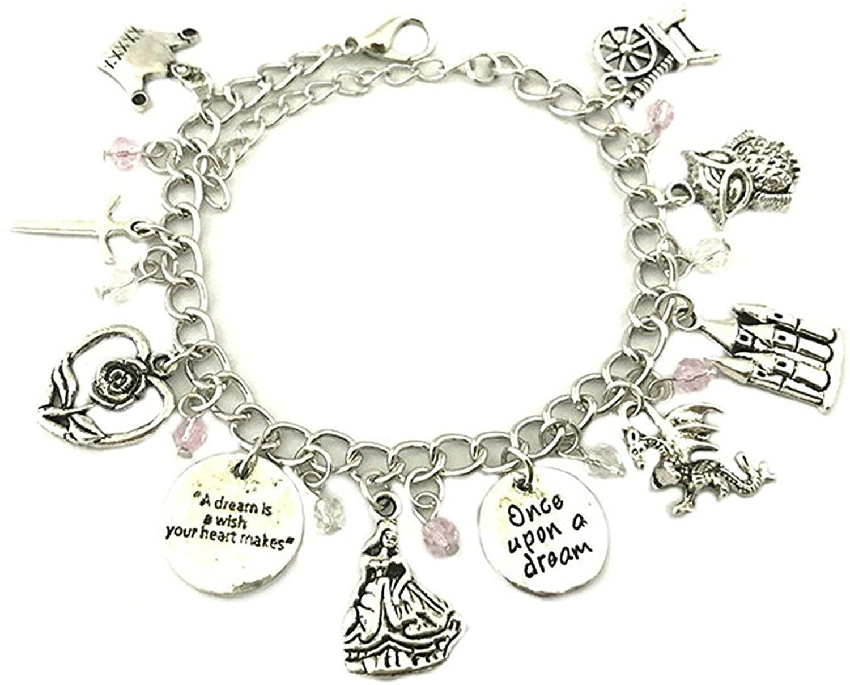 Athena Brands Sleeping Beauty Charm Bracelet Quality Cosplay Jewelry Movie Book Series with Gift Box