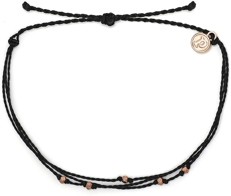 Pura Vida Silver or Rose Gold Malibu Anklet w/Plated Charm - Adjustable Band, 100% Waterproof