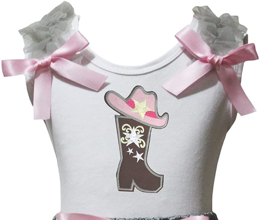 Petitebella Cowgirl Hat and Boot White Girl Shirt 1-8y