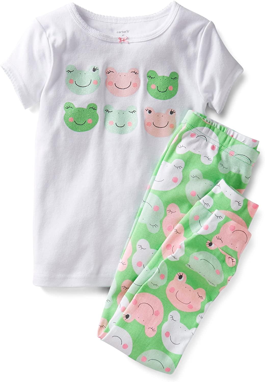 Carter's Girls 2 Piece Snug Fit Cotton Pajamas (5 Youth, Pink Green)