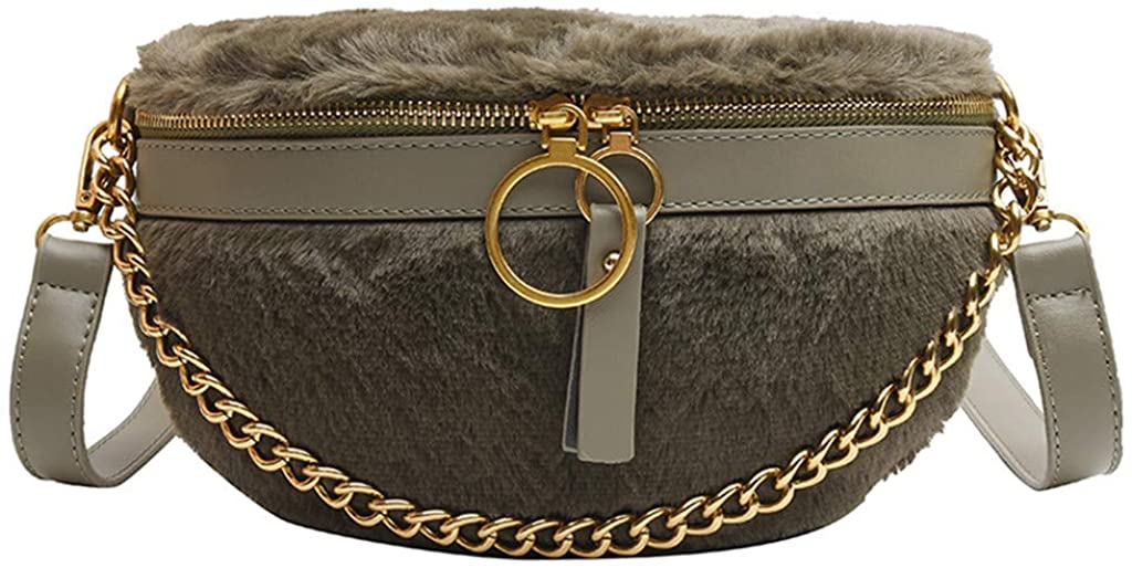 Women's Fashion Simple Solid Chain Single Shoulder Messenger Bag Waist Packs