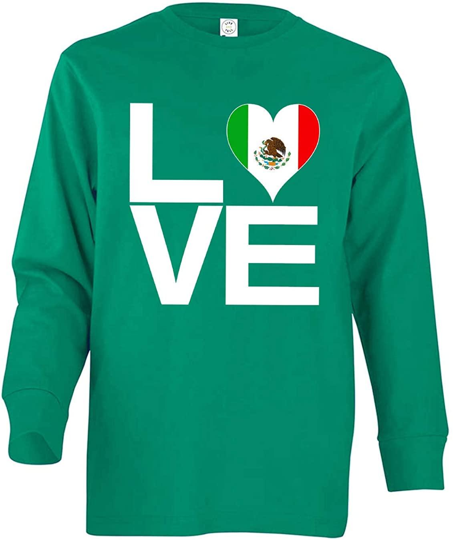 Tenacitee Girl's Youth Love Block Mexico Heart Long Sleeve T-Shirt