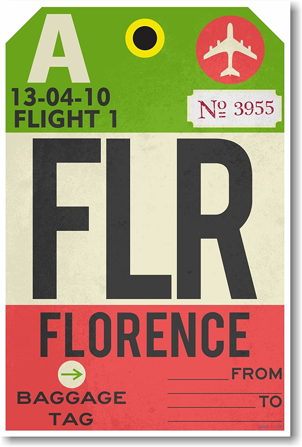 FLR - Florence - Airport Tag - NEW Travel Poster