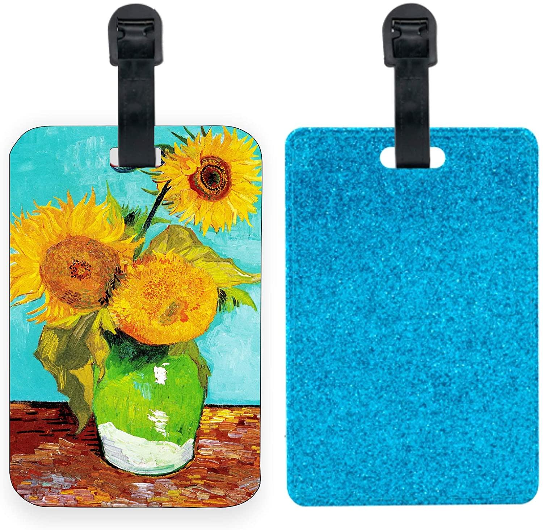 Blue Glitter Luggage Tag Identifier - Luggage Tag Van Gogh - Sunflowers