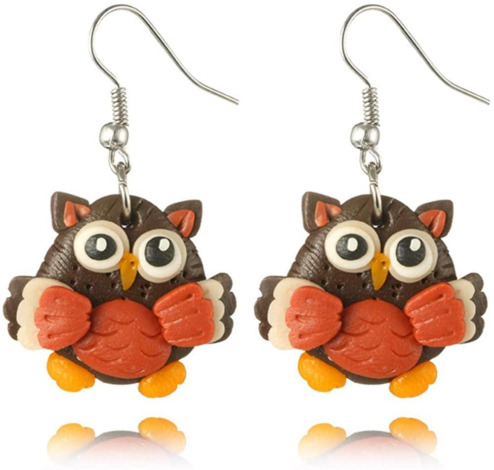 Korean Style Polymer 3D Owl Drop Hook Lovely Earrings for Teen Girls