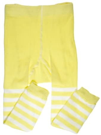 juDanzy Toddler and Girls Footless Tights (4-6 Years, Yellow Stripe)