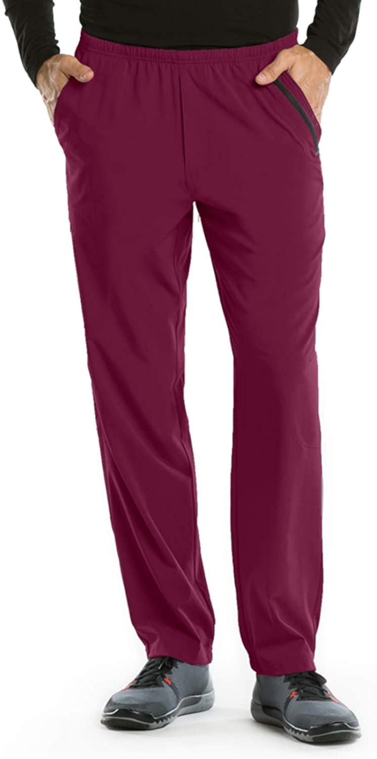 BARCO One 0217 Men's 7 Pocket Athletic Jog Scrub Pant Wine L Tall