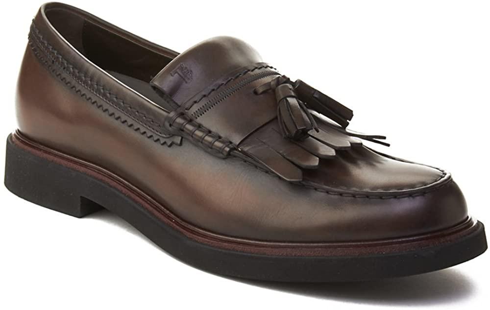 Tod's Men's Leather Tassle Loafer Shoes Black Brown