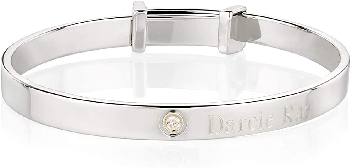 Sterling Silver 3pt Diamond Forever Baptism Bangle - Perfect Luxury Baby Jewelry & 1st Birthday Gift