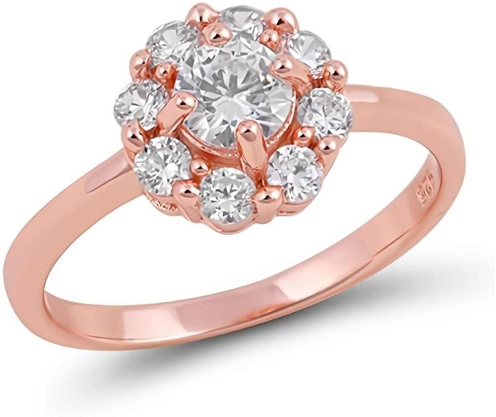 Glitzs Jewels 925 Sterling Silver CZ Ring   Cubic Zirconia Jewelry Gift