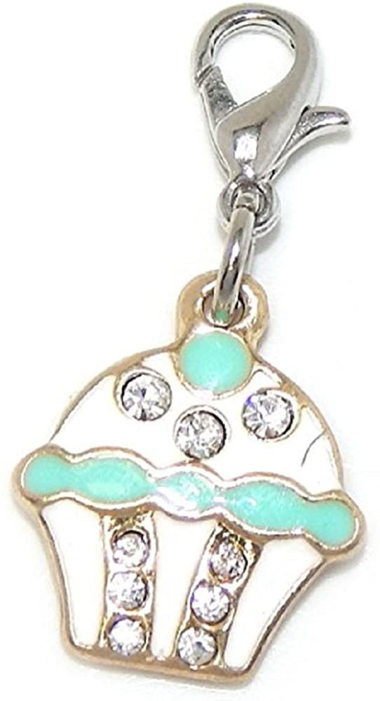 GemStorm Silver Plated Dangling Gold Tone Green & White Enamel Cupcake with Rhinestones Clip On Lobster Clasp Charm