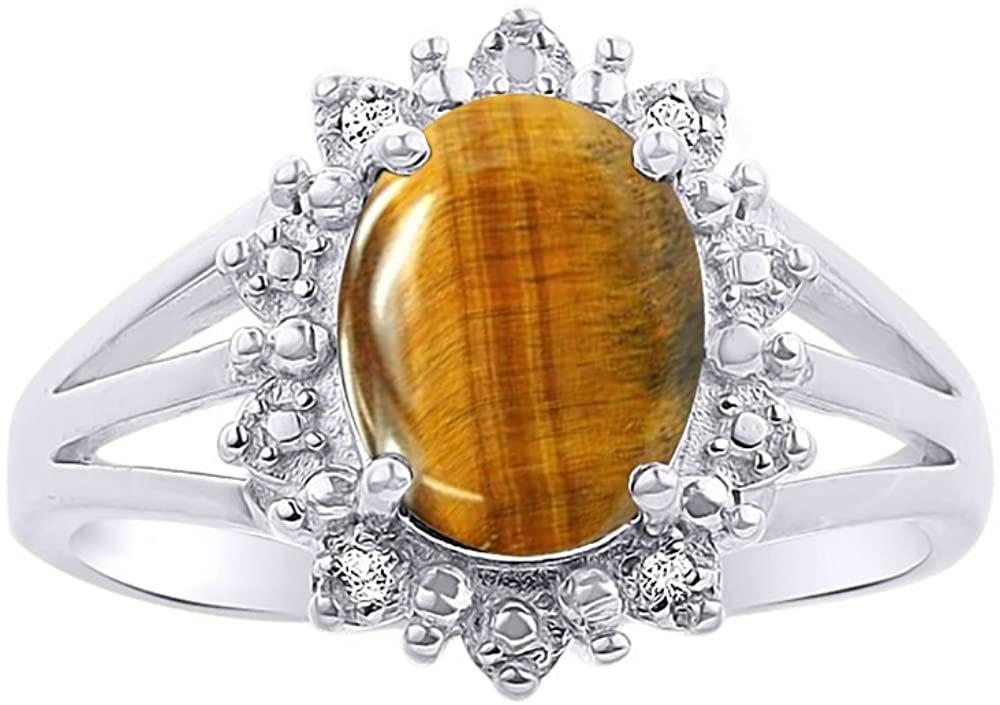 Diamond & Tiger Eye Ring Set In 14K White Gold - Princess Diana Inspired Halo Desginer