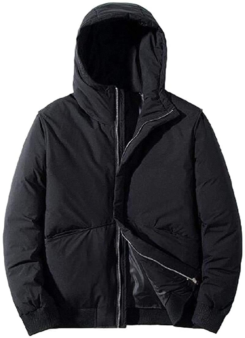 Ehghsgduh Mens Hooded Solid Color Warm Zipper Long Sleeve Loose Down Overcoats Outwear