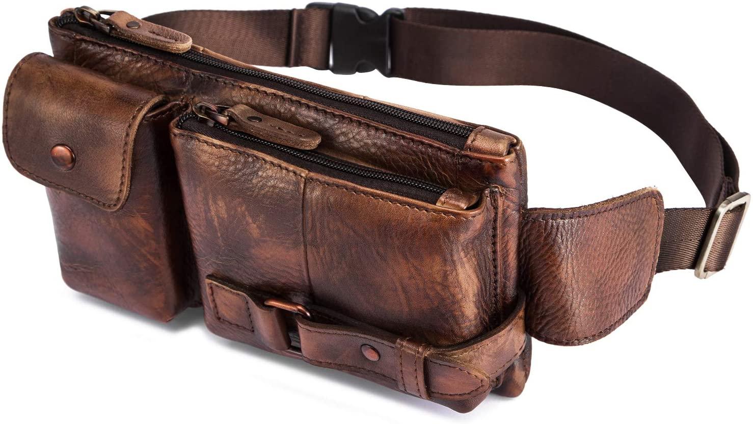 Le'aokuu Mens Genuine Leather Travel Chest Sling Bag Hip Bum Fanny Belt Waist Pack bag (The 8135 Brown)