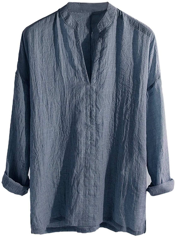 Mens Henley Shirts Casual V-Neck Long Sleeve Tees Loose Cardigan T-Shirts