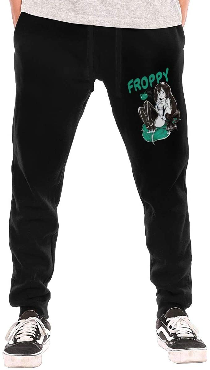 Jurenhq My Hero Academia Tsuyu Asui (Froppy) Mens Sweatpants Sport Pants Casual Teen Trousers with Pockets