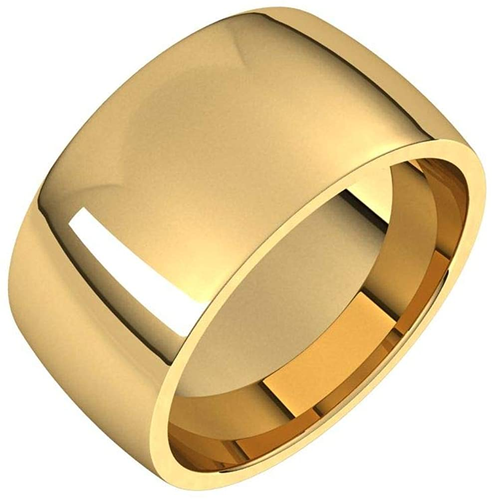 Solid 18K Yellow Gold 10mm Half Round Comfort Fit Light Wedding Band Size 5