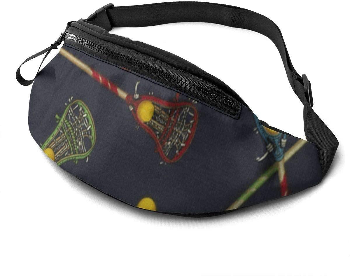 Lacrosse Zipper Closure Fanny Pack For Men Women Waist Pack Bag With Headphone Jack And Zipper Pockets Adjustable Straps