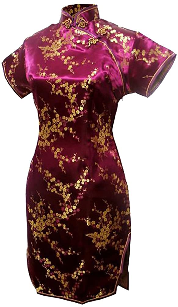 7Fairy Women's Burgundy Floral Mini Chinese Evening Dress Cheongsam
