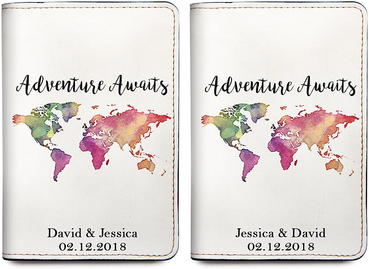 Adventure Awaits - Personalized RFID Passport Holder Cover - Set of 2
