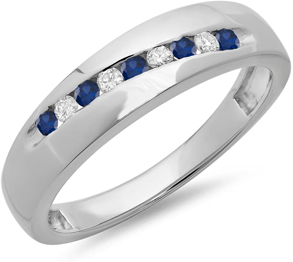 Dazzlingrock Collection Round Cut Blue Sapphire & White Diamond Men's Stackable Anniversary Wedding Band, Sterling Silver