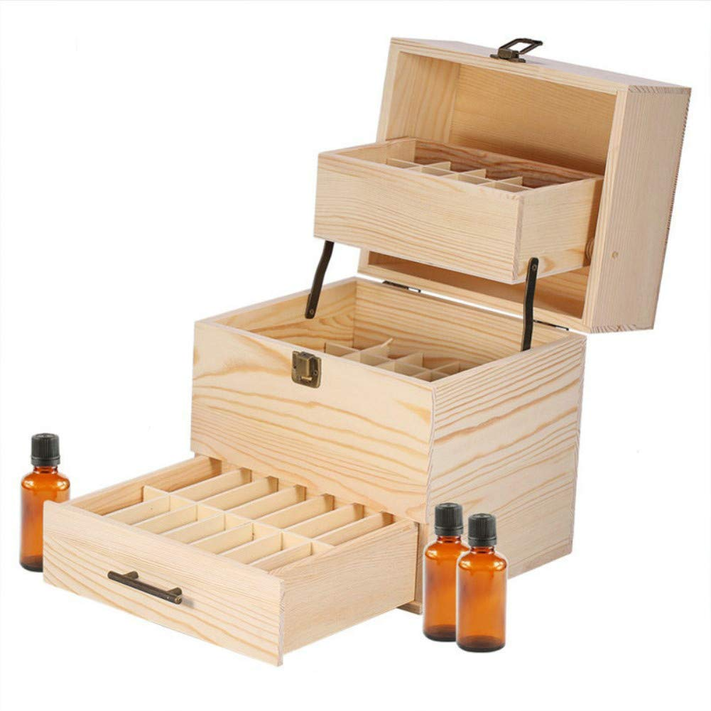 PhantomSky Multi-Tray 59 Slots Wooden Aromatherapy Essential Oil Carrying Case, Natural Pine Essential Oil Organizer Storage Box Case Roller Bottlers Display Holder Collection Containers