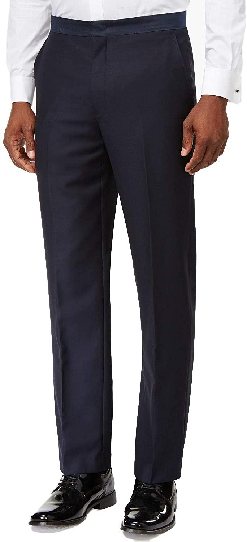 Ryan Seacrest Distinction Mens Navy Modern-Fit Tuxedo Pants 36x34