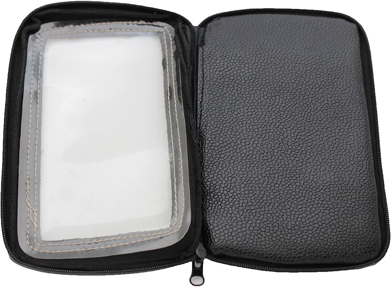 TFJ Men Wallet Cellphone Case Biker Fashion Accessory Magnetic Black Faux Leather Fabric Sticks Motorcycle Bike