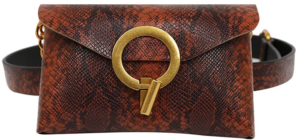 Monique Women Snakeskin Pattern Fanny Pack Removable Belt Waist Bag Envelope Clutch Salesman Coin Purse Cellphone Pouch Mini Chain Cross-body Bag Wine red