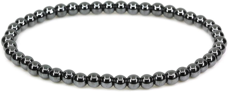 Keleny Gemstone 4mm Natural Round Beads Gemstones Rock Crystal Stretch Bracelet 7 Inch Unisex