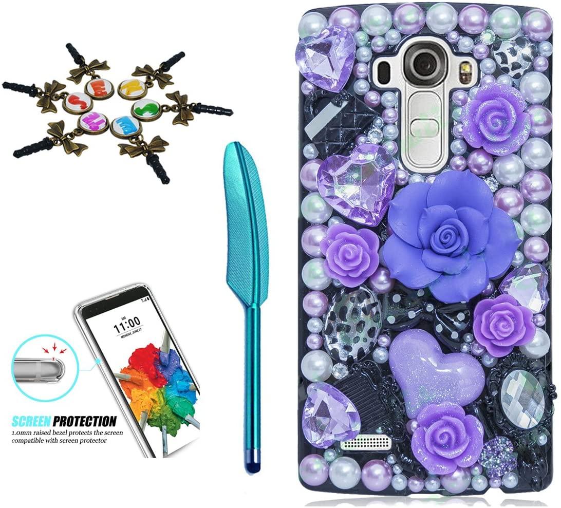 STENES LG Stylo 3 Case - 3D Handmade Crystal Sparkle Diamond Rhinestone Hybrid Cover For LG Stylo 3/Stylo 3 Plus/LG LS777 With Anti Dust Plug & Stylus Pen - Big Rose Heart Cosmetic Flowers/Purple