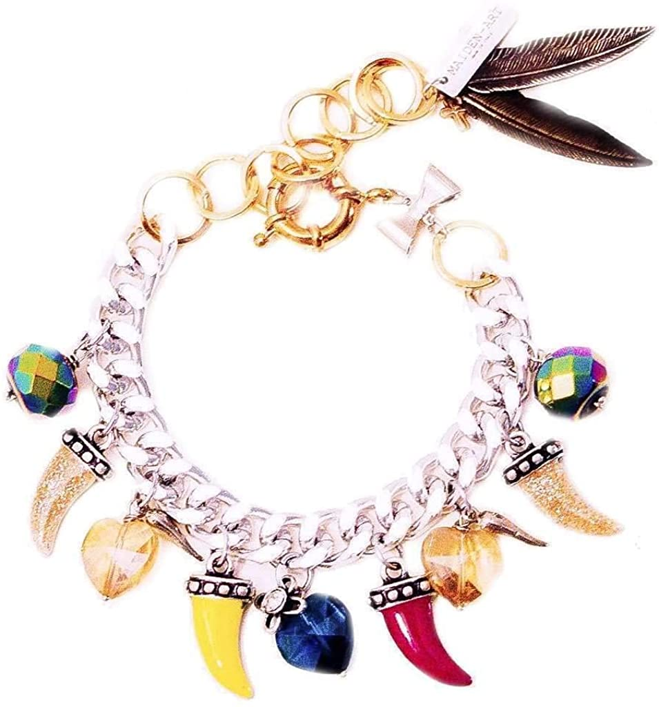 SCANDALICIOUS GIRL Colorful Horns, Horseshoe, Heart Charm Bracelet with Crystals