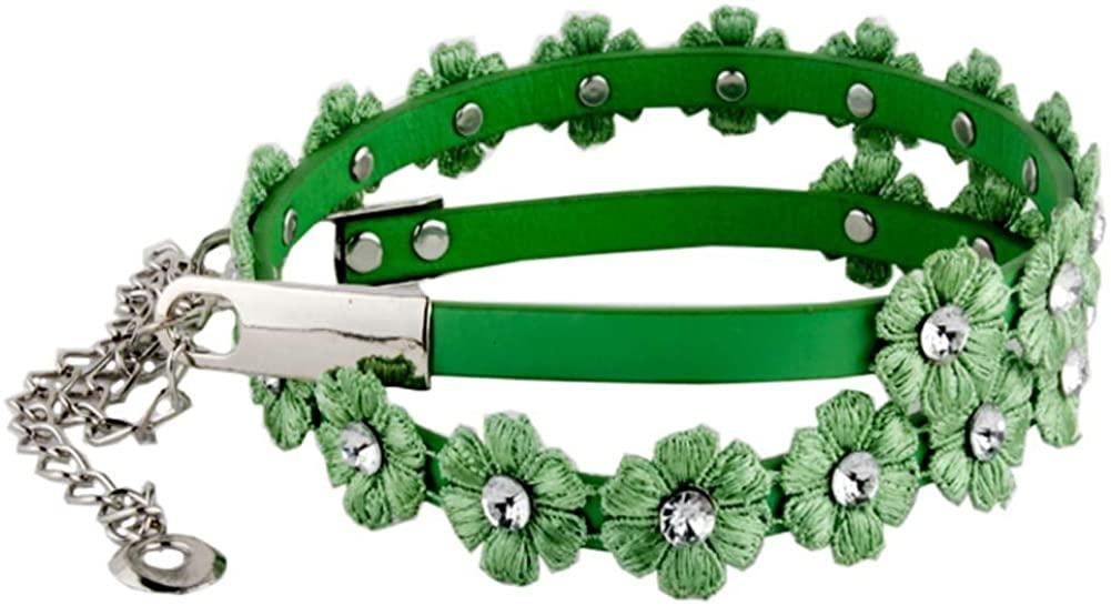 Stylish Flowers Waist Belts Rhinestone Belts Adjustable Chain Belts for Women, 06